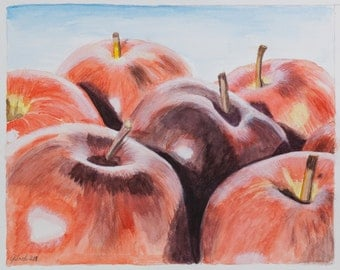 Watercolor print de me made, red apples