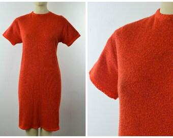 Vintage 60s mod shift dress UK 12 - 14 medium fine knit LABEL Victor Bright Knightwear