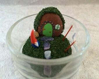 Gnome home miniture garden, fairy garden, diorama