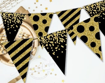 Gold and Black Party Decor - 60th Birthday Decoration - Cheers Banner - Printable - Instant Download