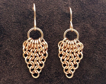 European Leaf Chainmail Earrings - 14kt Rose Gold Fill