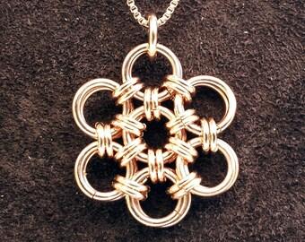 Hana Gusari Snowflake Chainmail Pendant - 14kt Rose Gold Fill