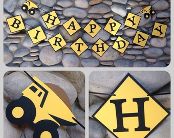 Happy Birthday banner, Construction themed happy birthday banner,  construction birthday banner, construction Birthday party, dump truck