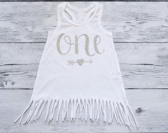 First Birthday Outfit Girl, White and Silver Fringe Dress