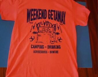 Ladies T-shirt Weekend Getaway Camping Horses Bonfire