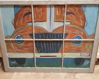 Hand painted Rustic old vehicle/ glass window painting.