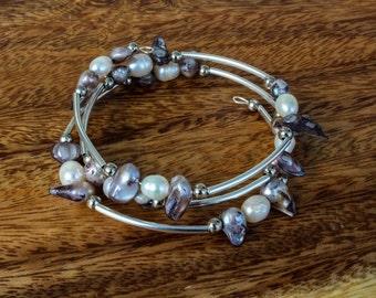 Pearl beaded wrap memory wire bracelet