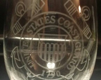 4 Military Etched Stemless Wine Glasses