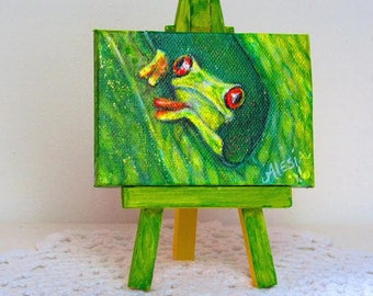 red eyed green frog