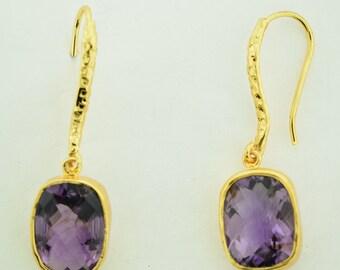 Amethyst Earrings 18 Karat Gold plated in Sterling silver