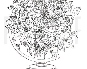Hand Drawn | Floral Globe | Flowers | Black and White | Digital Artwork | Instant Download | Digital Print