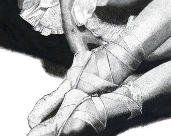 Pen & Ink Drawing, A4 - Ballerina Resting