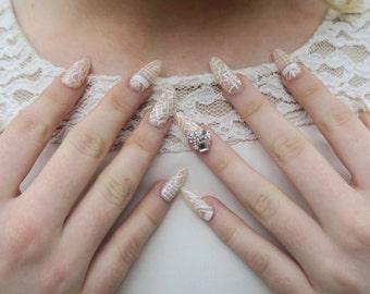 l *Victorian* FreshTips l  False Nail Set l Press-on l Almond Lace Swavorski Cluster Gel l