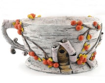 "Birch Bark Teacup Planter, 3"" tall and 6"" wide, Decorative birch bark planter with bright orange berries, Great container for fairy gardens"
