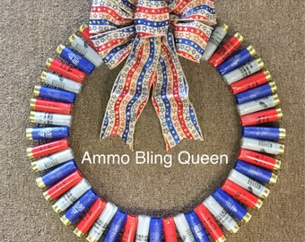 """12 Gauge Shotgun Shell Wreath Made From Empty Once Fired Shells 16"""" diameter custom color choices available"""