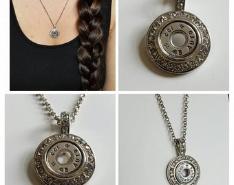 Eye Catcher-Pendant Necklace with Bullet center