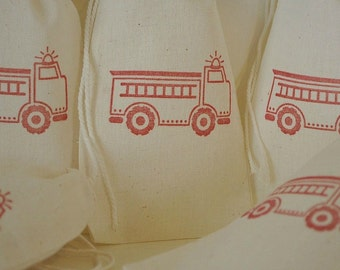 10 Firetruck muslin cotton party favor bags 4x6 inch - great for birthday parties - goodie bags, favor bags, party bags, gift bags