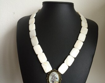 Stag in Suit Mother of Pearl Tracht Necklace