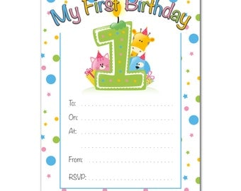 16 A6 1st Birthday Invitations - With or Without Envelopes - Babies / Kids / Children