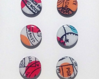 Passport Stamp Magnets / Travel Magnets / Abstract Magnets / Fridge Magnets / Refrigerator Magnets