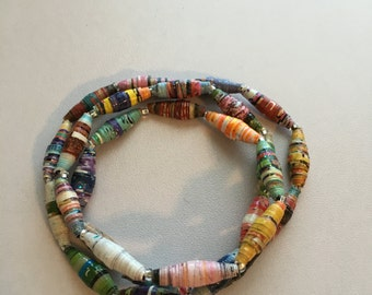 Rolled Paper Beads w/ Clear Beads Wrap Bracelet #2