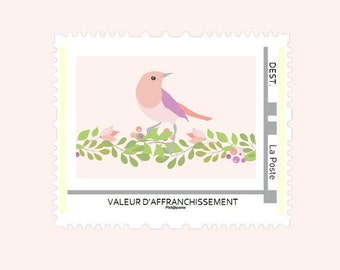 Customization of stamp (girl or boy) birth announcement - floral Collection