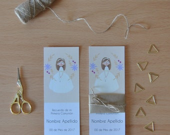 "Reminder/bookmarks ""My first communion"" customizable. Model girl or boy."
