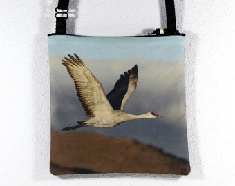 Linen Cotton Purse with Bosque del Apache Flying Crane Photo Print