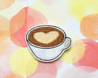 Felties, Latte Felties, Coffee Felties, Food Felties, Felt Applique, Embroidered Applique