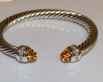 DAVID YURMAN 7mm Orange Citrine & Diamonds 0.48 Carat Cable Classic BRACELET Pre-Owned/ Excellent Condition