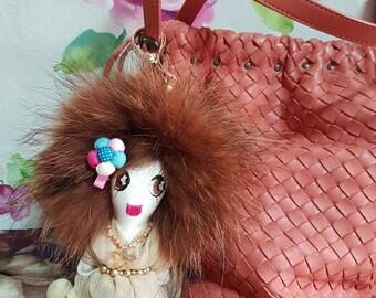 Mocha LolaDora Doll Bag Charm