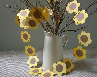 Sunflowers Bunting, Sunflower Garland, Sunflower Banner, September Wedding, Flower Garland