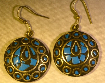 Statement Blue, Black and Silver Sphere Earrings
