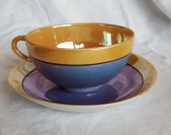 Hand painted Teacup with saucer made in Japan