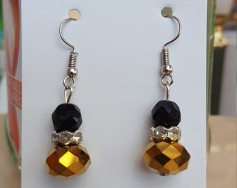 Gold and Black Summer Shiny Drop Earrings