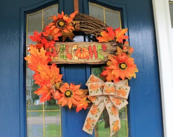 Welcome Harvest Wreath, Fall Wreath, Harvest Wreath, Autumn Wreath, Welcome Autumn Wreath, Fall Wreaths, Thanksgiving Wreath, Autumn Wreaths