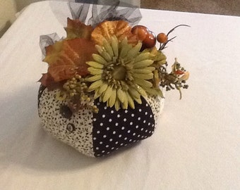 Fall Cloth Pumpkin Arrangement