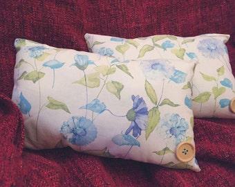 Pale blue flowe cushions