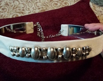 party plated belt and velvet with embellishment.