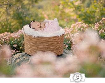 Newborn Digital Backdrop - Weaved Basket Pink Flower Garden Background Composite
