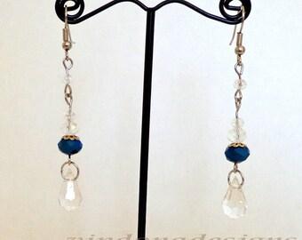 Lovely Royal Blue Teardrops Swarovski Crystals Handmade Earrings