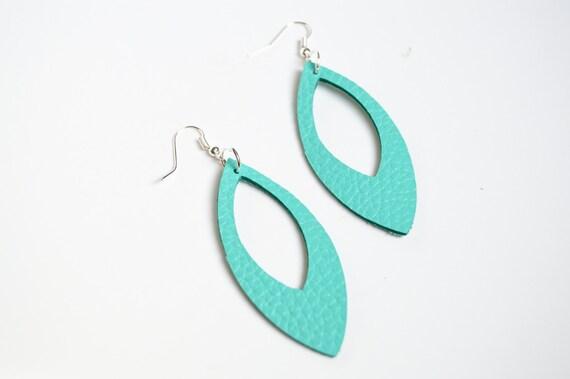 Aquamarine Leather Cutout  Earrings:  Leaf Shape Cut Out Earrings