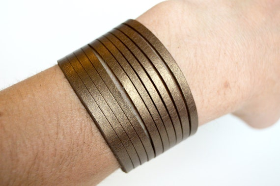 Wide Leather  Coil Cuff-- Soft Metallic Bronze Brown Coil Leather Bracelet-- Faux Stacked Bangles Leather Cuff
