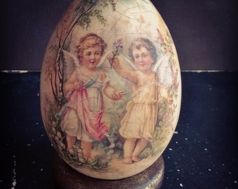 Angels Egg Decoupage, Easter egg in vintage style