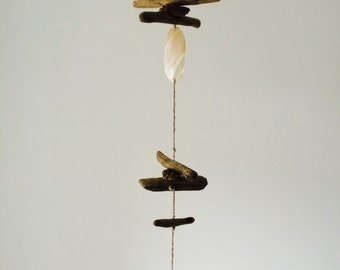 Driftwood mobile hanging decoration with shell details