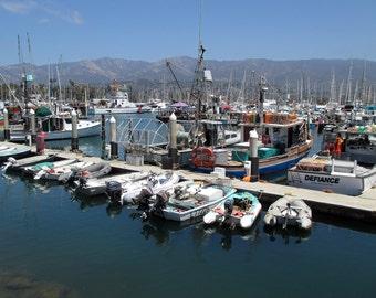 Boats at Santa Barbara Harbor, 5x7 8x10 11x14 Photo, Nautical Photo