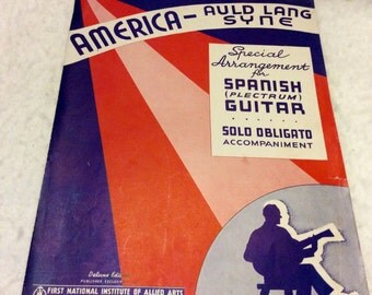America and Auld Lang Syne vintage sheet music 1935. Free ship to US.