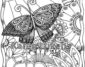 Butterfly Garden 4, 1 Adult Coloring Book Page, Printable Instant Download