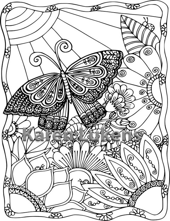 Butterfly Garden 4 1 Adult Coloring Book Page Printable