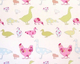 ducks and chickens pastel oilcloth tablecloth